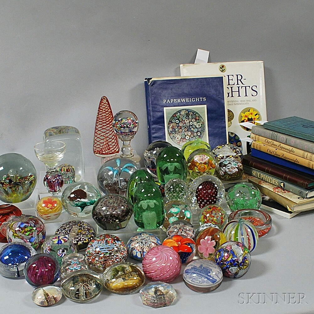 Large Collection of Glass Paperweights and Related Reference WorksLarge...