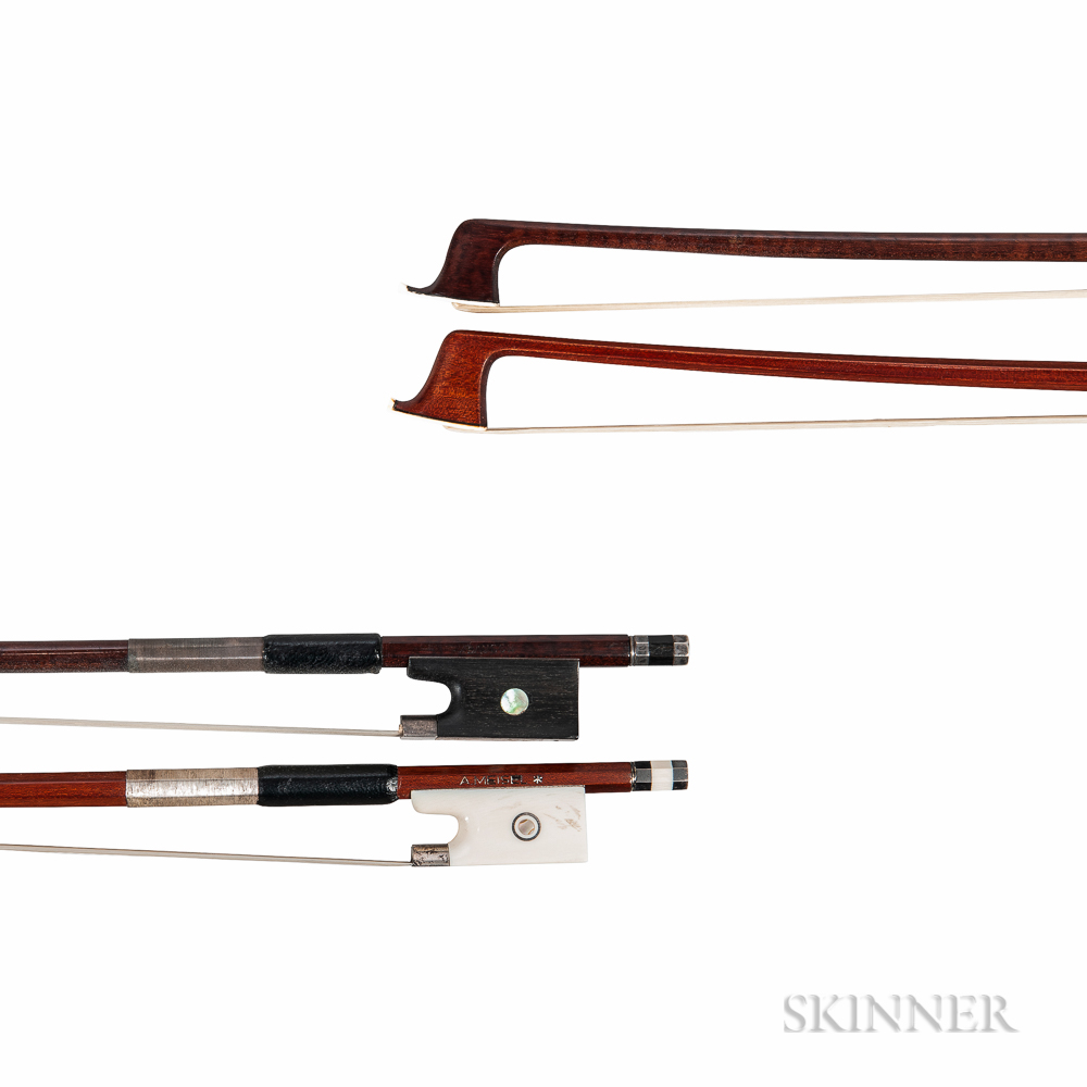 Two Silver-mounted Viola Bows