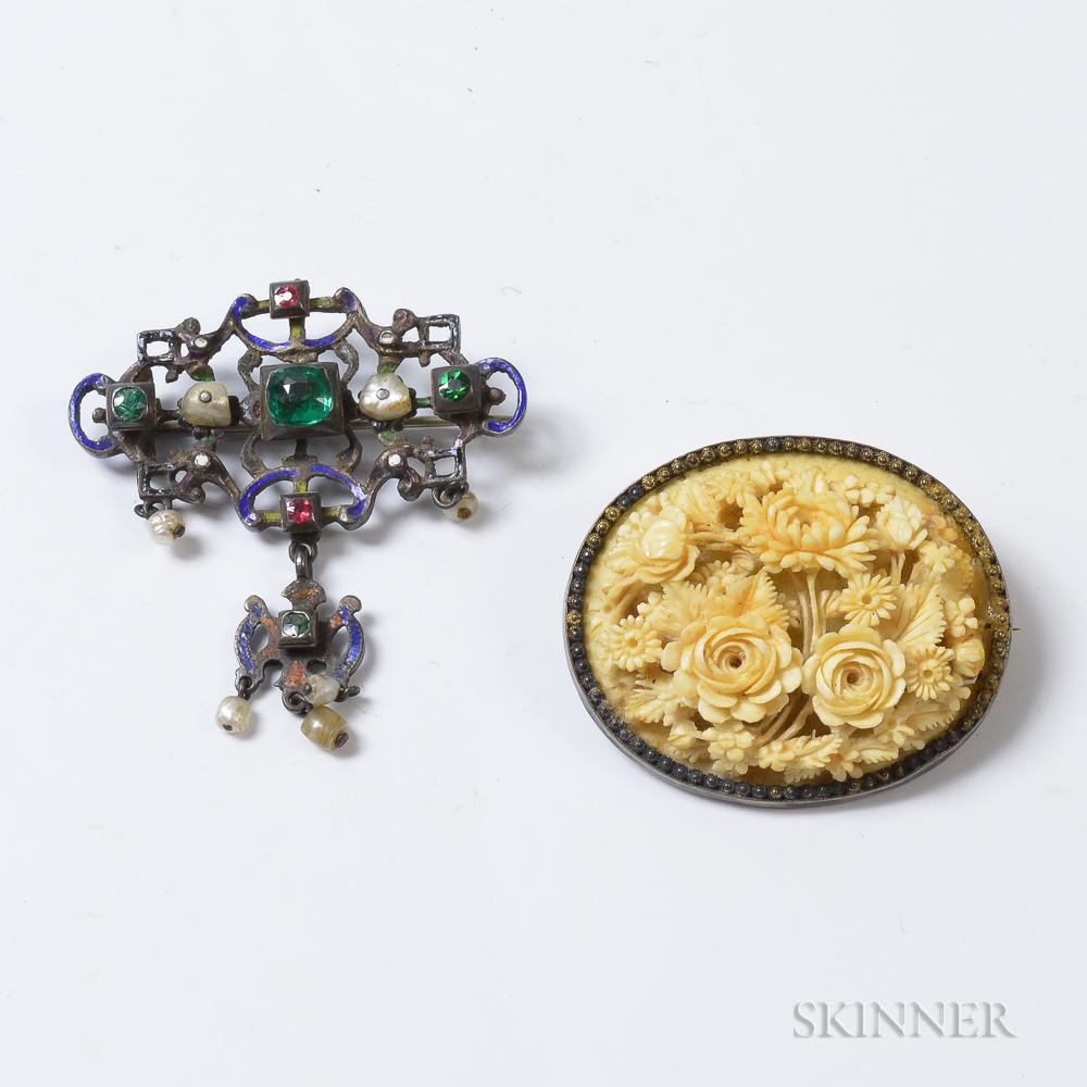 Renaissance Revival Enameled Gem-set Brooch and Carved Floral Brooch.     Estimate $100-150