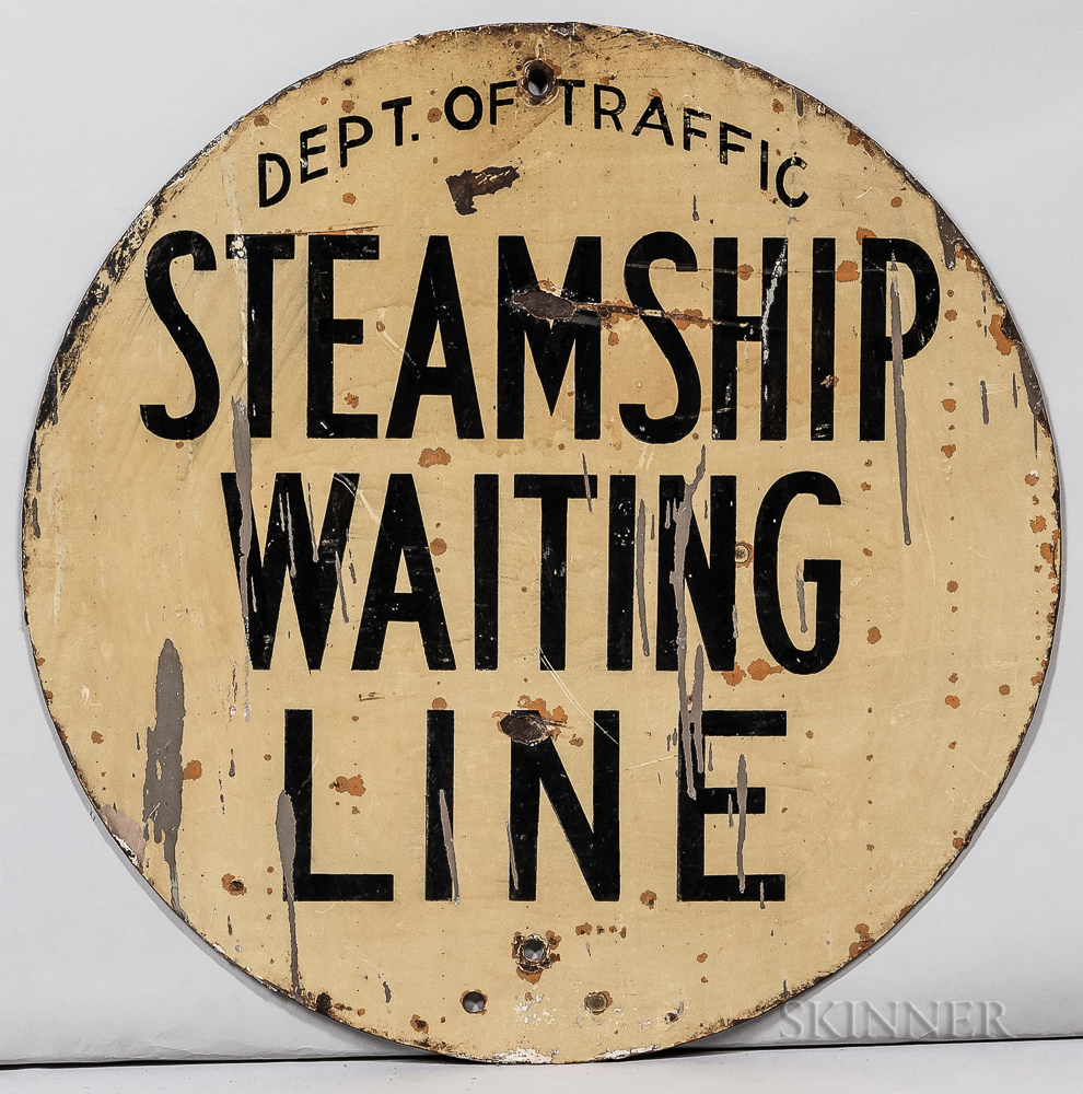 """Round """"Steamship Waiting Line"""" Sign"""