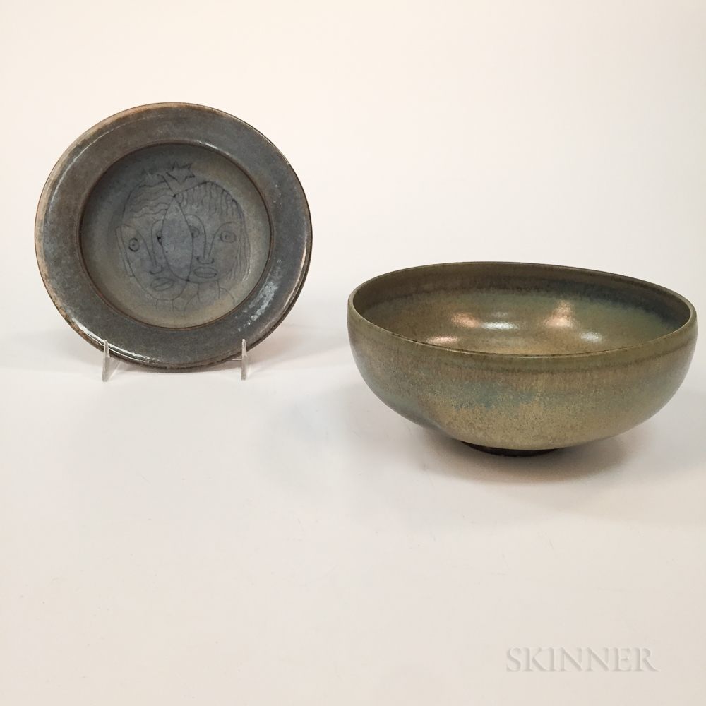 Mary and Edwin Scheier Face Dish and Bowl
