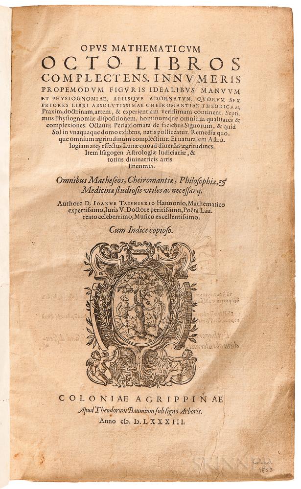 Taisnier, Jean (1509-1562) Opus Mathematicum Octo Libros Complectens.