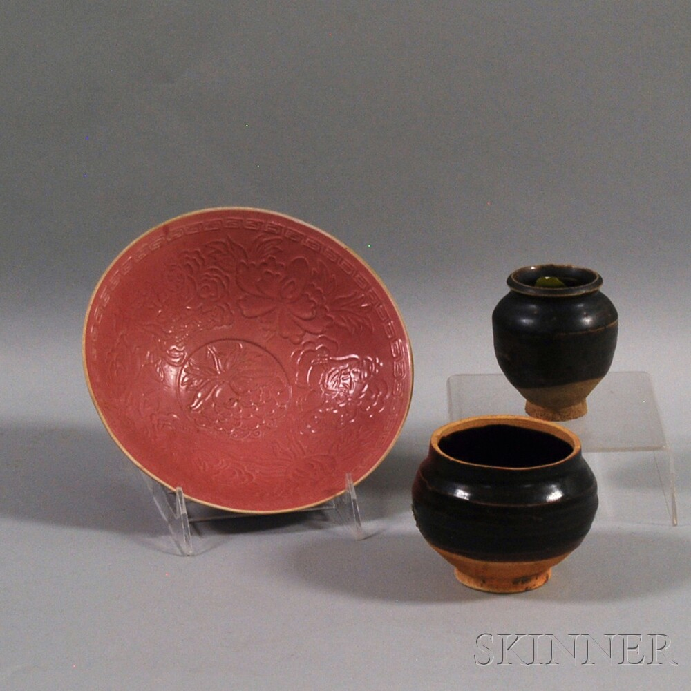 Two Black-glazed Miniature Jars and a Ding Bowl