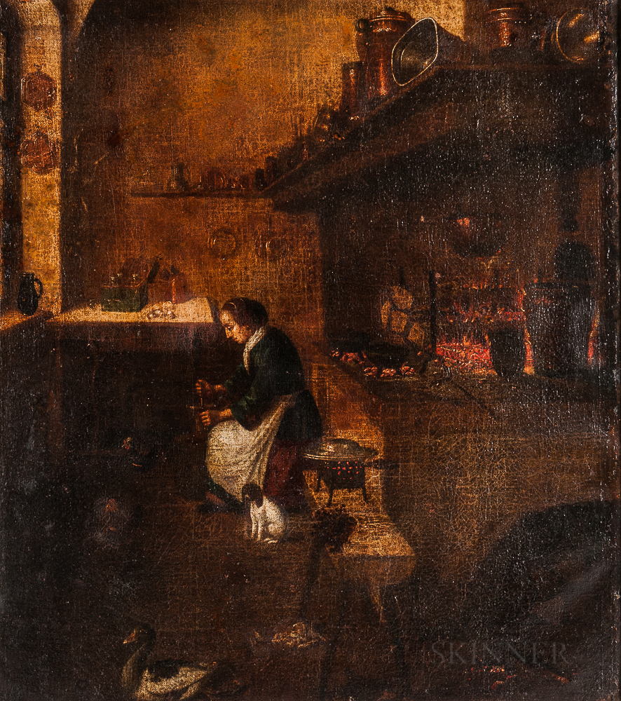 Manner of Thomas de Wijck (Dutch, c. 1616-1677), Kitchen Interior with Maid Working, with a Small Dog, Chickens, and Duck on the Floor