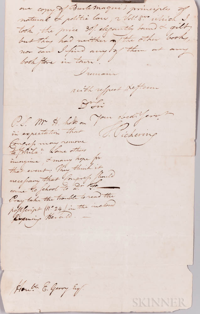 Gerry, Elbridge (1744-1814) Archive of Received and Related Letters and Documents.