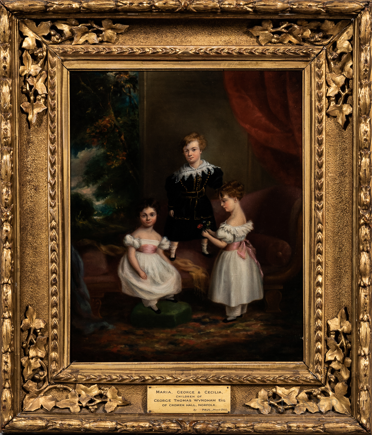 British School, 19th Century      Maria, George, and Cecelia Wyndham, Painted at Cromer Hall