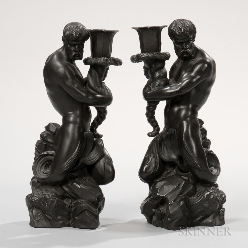 Pair of Wedgwood Black Basalt Triton Candlesticks