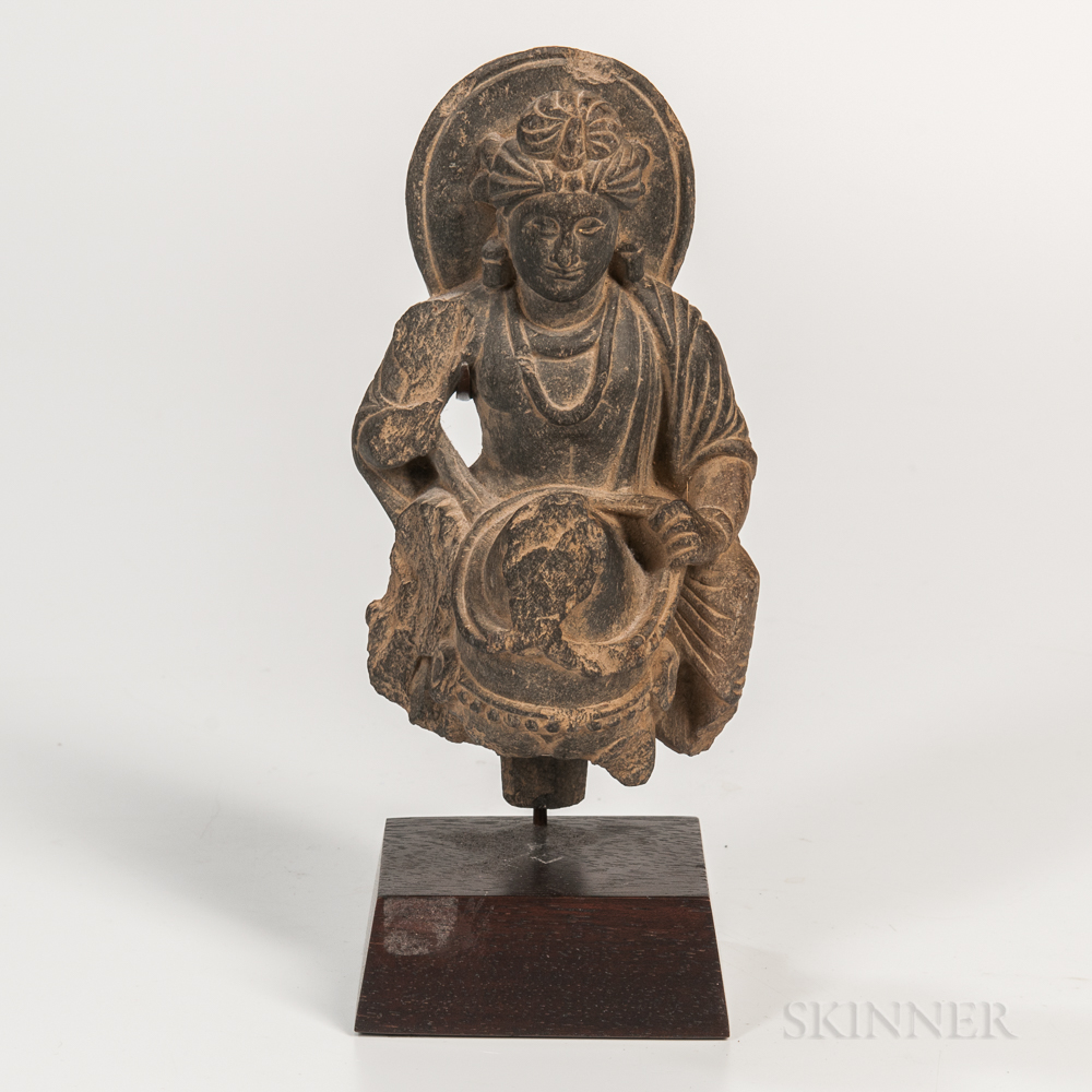 Gray Schist Figure of Buddha