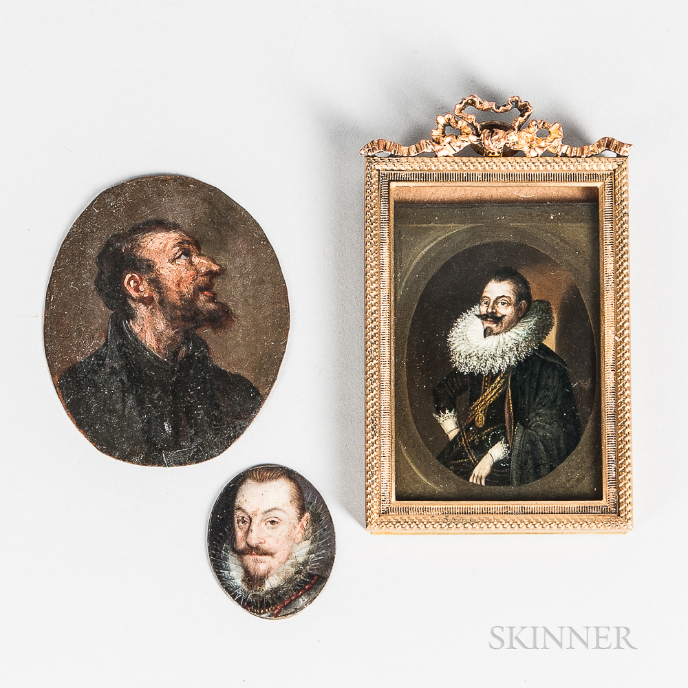 Three Miniature Portraits on Copper:  Attributed to Cornelis de Vos, Seated Portrait of a Man in a Fancy Ruff and Dark Cloak,...