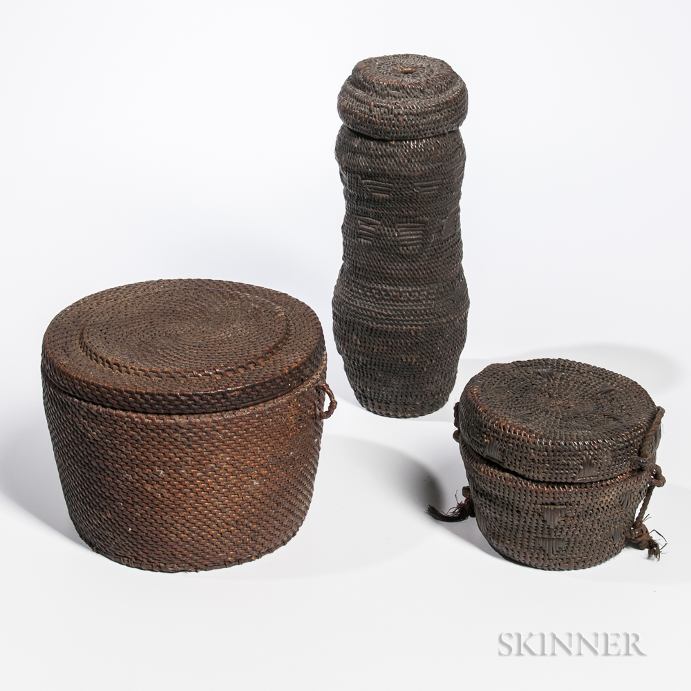 Three Congo Lidded Baskets