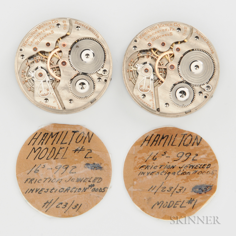 "Two Hamilton ""992"" Watch Movement Samples"