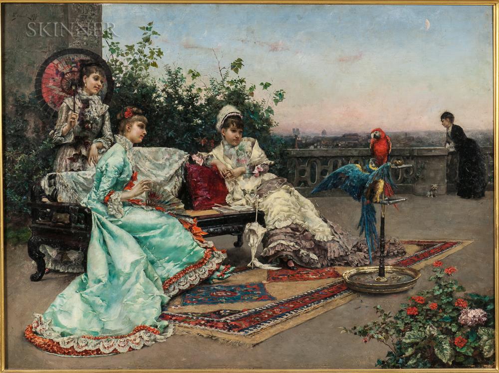 Julius LeBlanc Stewart (American, 1855-1919)      Twilight on the Terrace, Paris