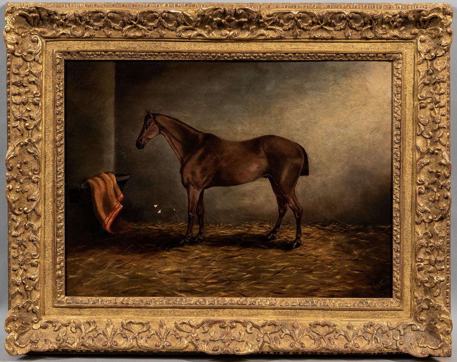 Anglo/Irish School, 19th Century      Horse with a Docked Tail, Standing in a Stall
