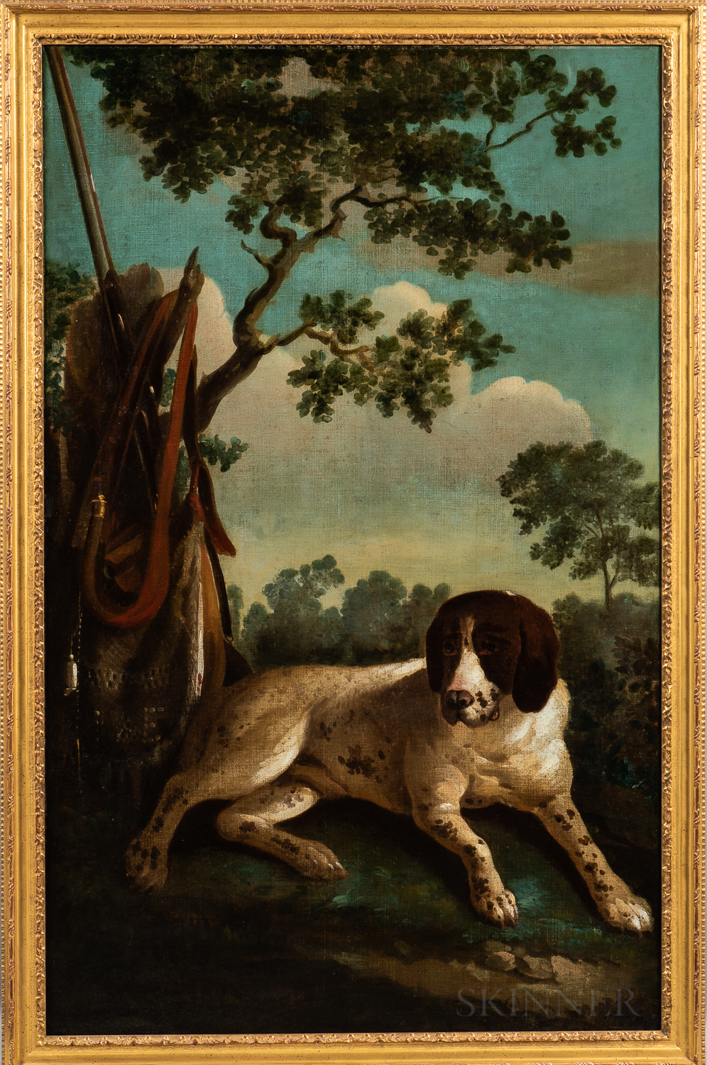 Anglo/Dutch School, 18th Century Style      Bird Dog with Hunter's Gear in a Landscape