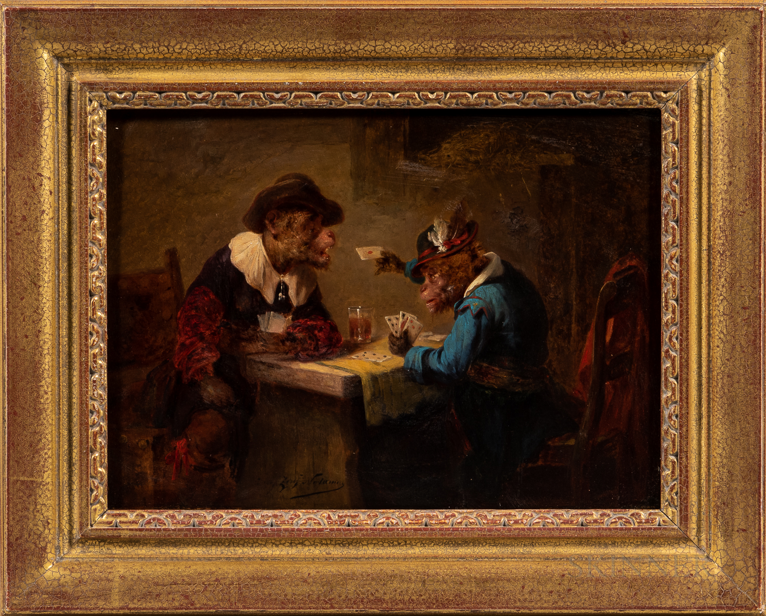 Zacharias Noterman (Belgian, 1820-1890)      Two Vignettes of Monkeys at Tavern Tables Drinking and Gaming