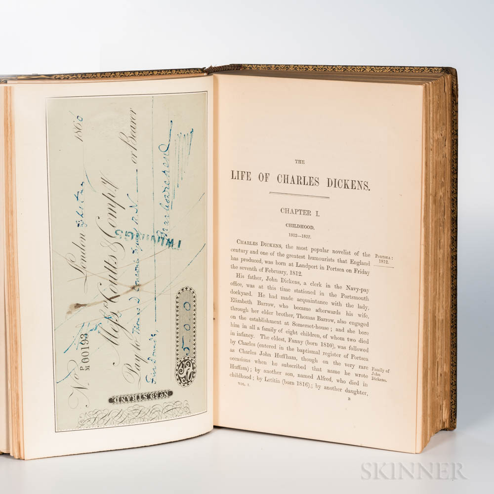 Forster, John (1812-1876) The Life of Charles Dickens  , Extra-Illustrated, with a Check Signed by Dickens.
