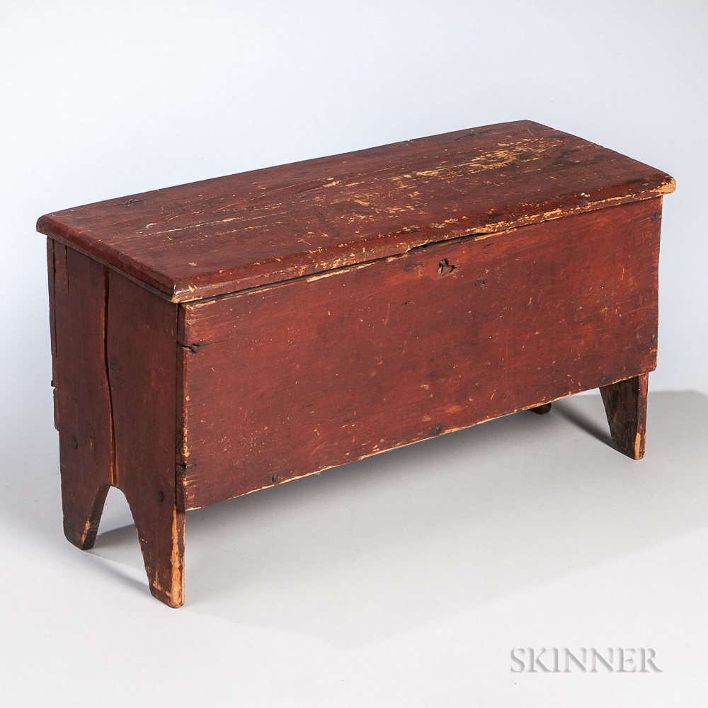 Early Red-painted Pine Child's Six-board Chest