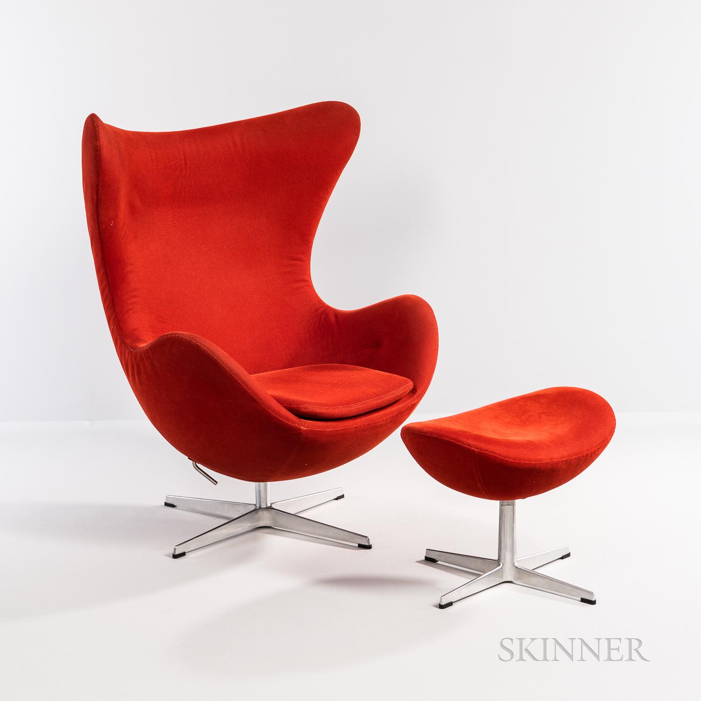 Arne Jacobsen (Danish, 1902-1971) for Fritz Hansen Egg Chair and Ottoman