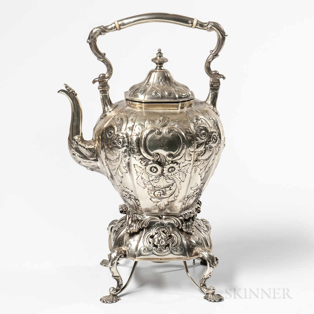 Coin Silver Kettle-on-Stand