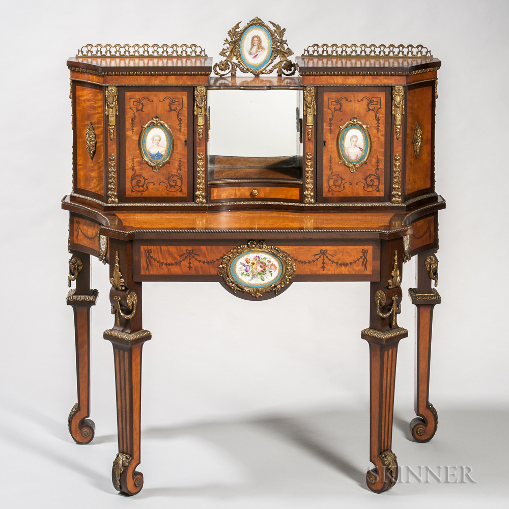 Louis XIV-style Mahogany-and Satinwood-veneered Desk with Porcelain and Ormolu Mounts