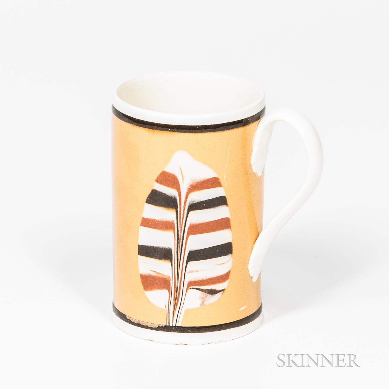 Dipped Fan Slip-decorated Pint Mug