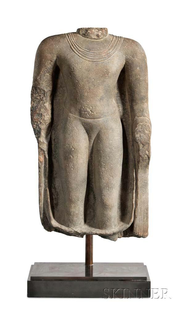 Large Sandstone Gupta Torso of Buddha
