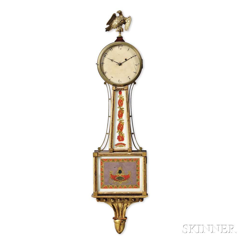 "Federal Mahogany and Gilt-gesso Patent Timepiece or ""Banjo"" Clock"