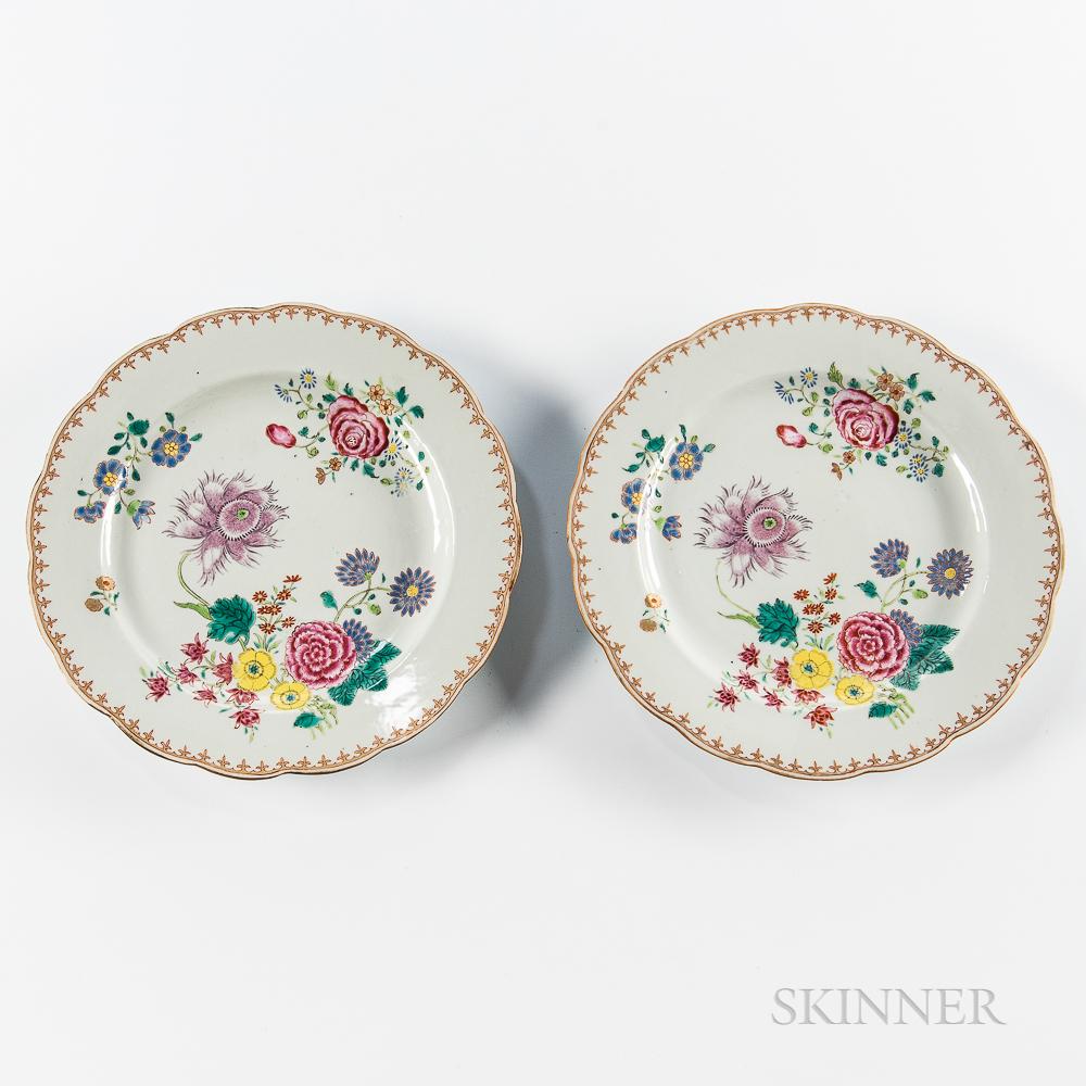 Pair of Export Porcelain Plates