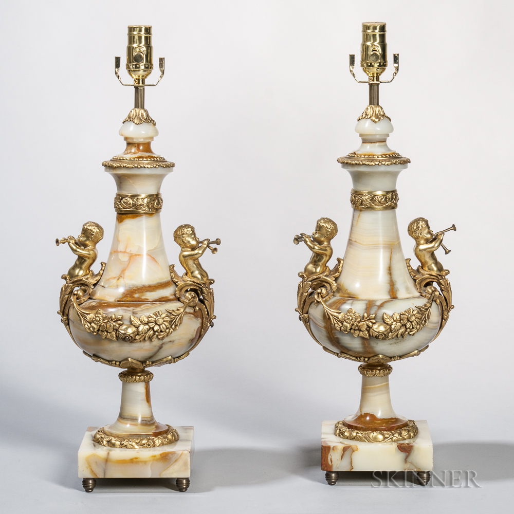 Pair of Gilt-bronze-mounted Onyx Table Lamps