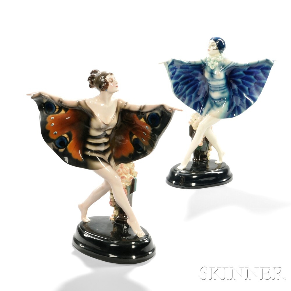"Two Goldscheider Sculptures ""Captured Bird"" and ""Butterfly Girl"""