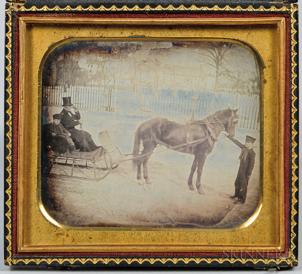 Quarter-plate Daguerreotype of a Horse-drawn Sleigh