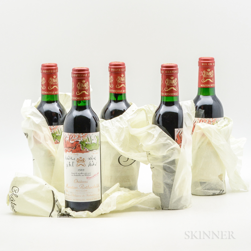 Chateau Mouton Rothschild 1989, 5 demi bottles