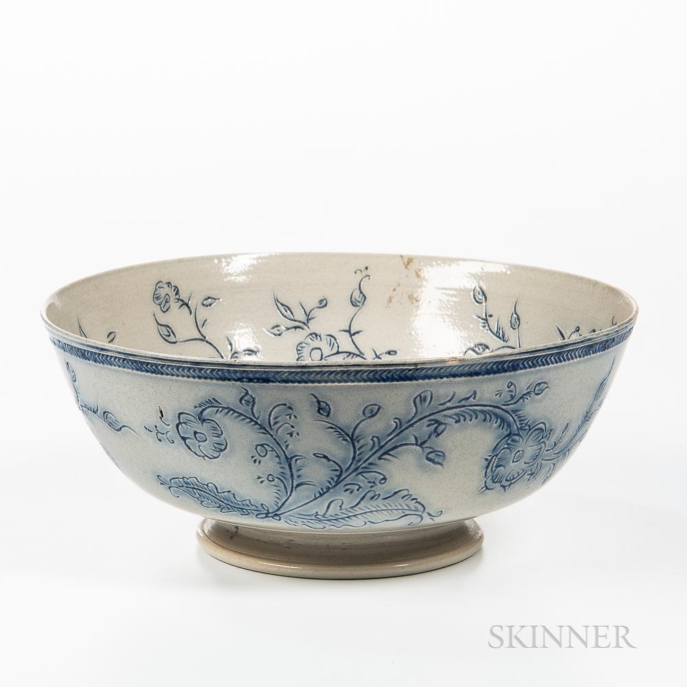 Staffordshire Scratch Blue Decorated Salt-glazed Stoneware Punch Bowl