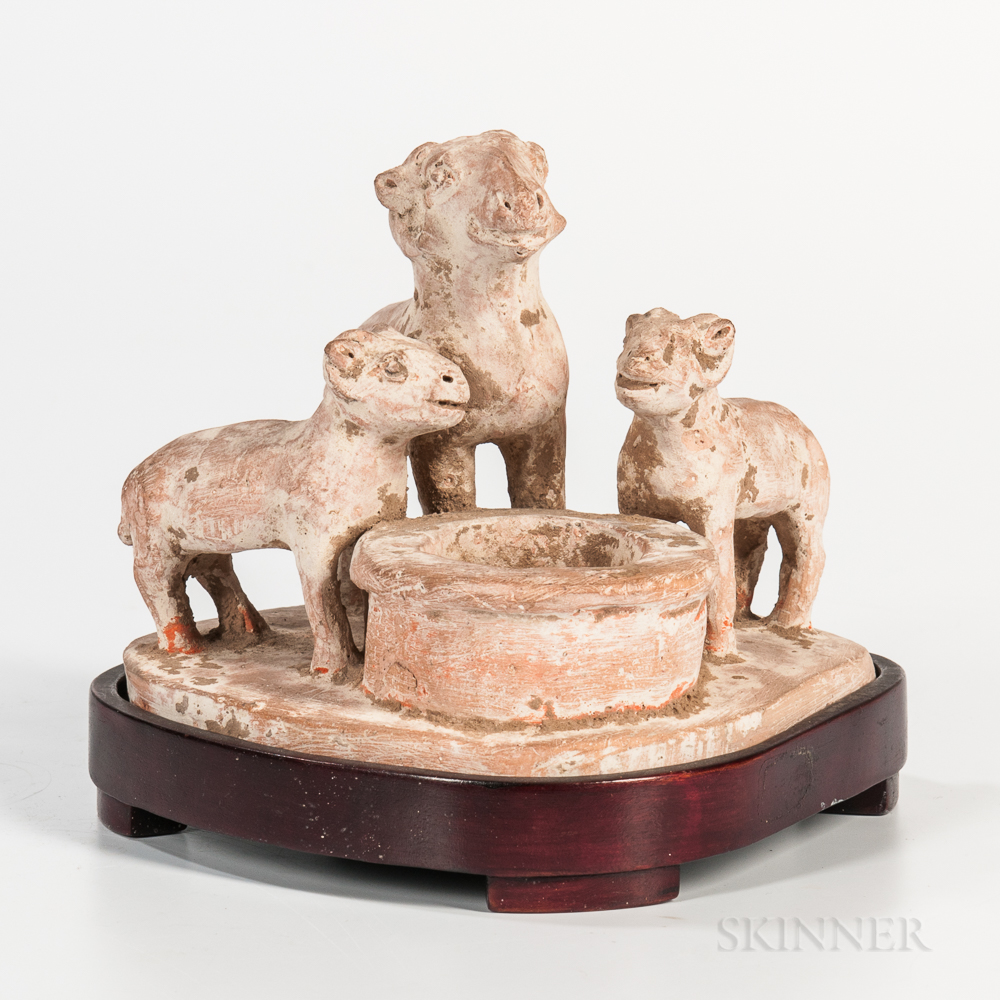Tomb Pottery Figural Goat Group