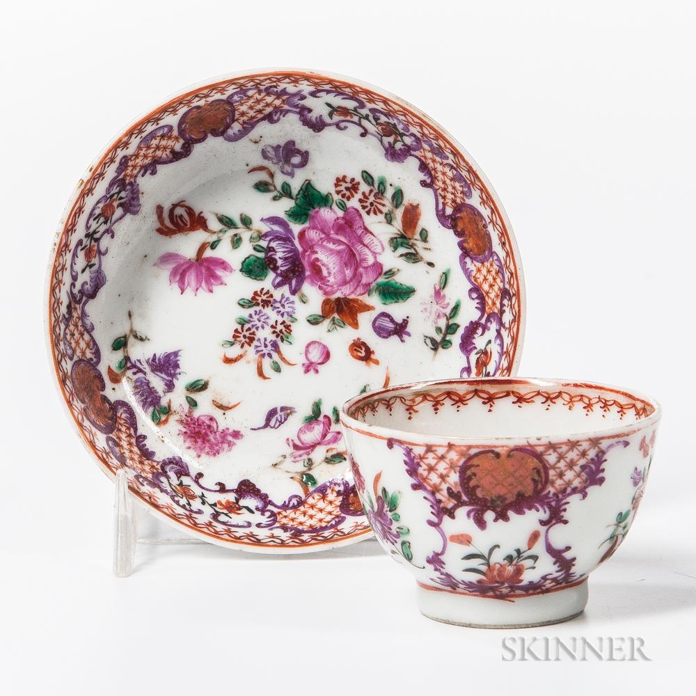 Export Porcelain Child's Tea Bowl and Saucer
