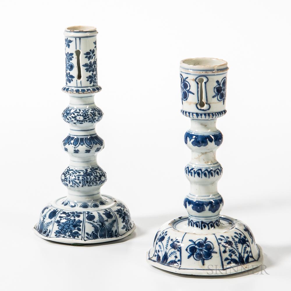 Two Export Porcelain Candlesticks