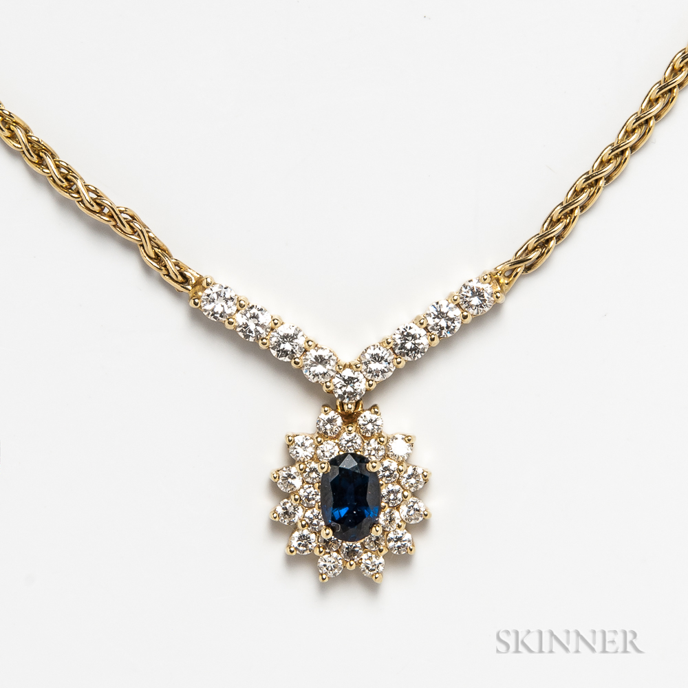 14kt Gold, Diamond, and Sapphire Necklace