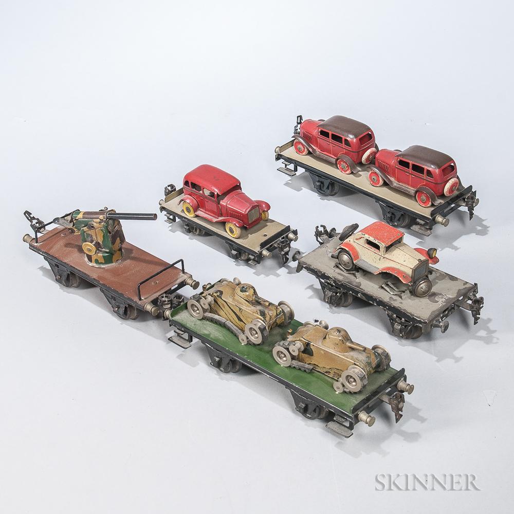 Five Marklin Flat Cars