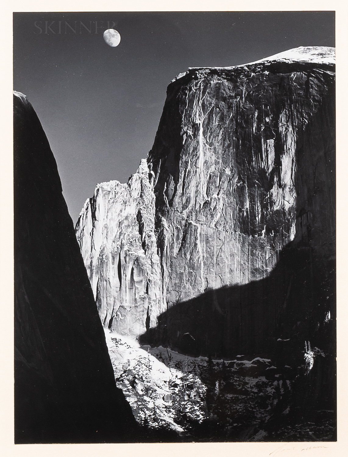 Ansel Adams (American, 1902-1984)      Moon Over Half Dome, Yosemite National Park, California