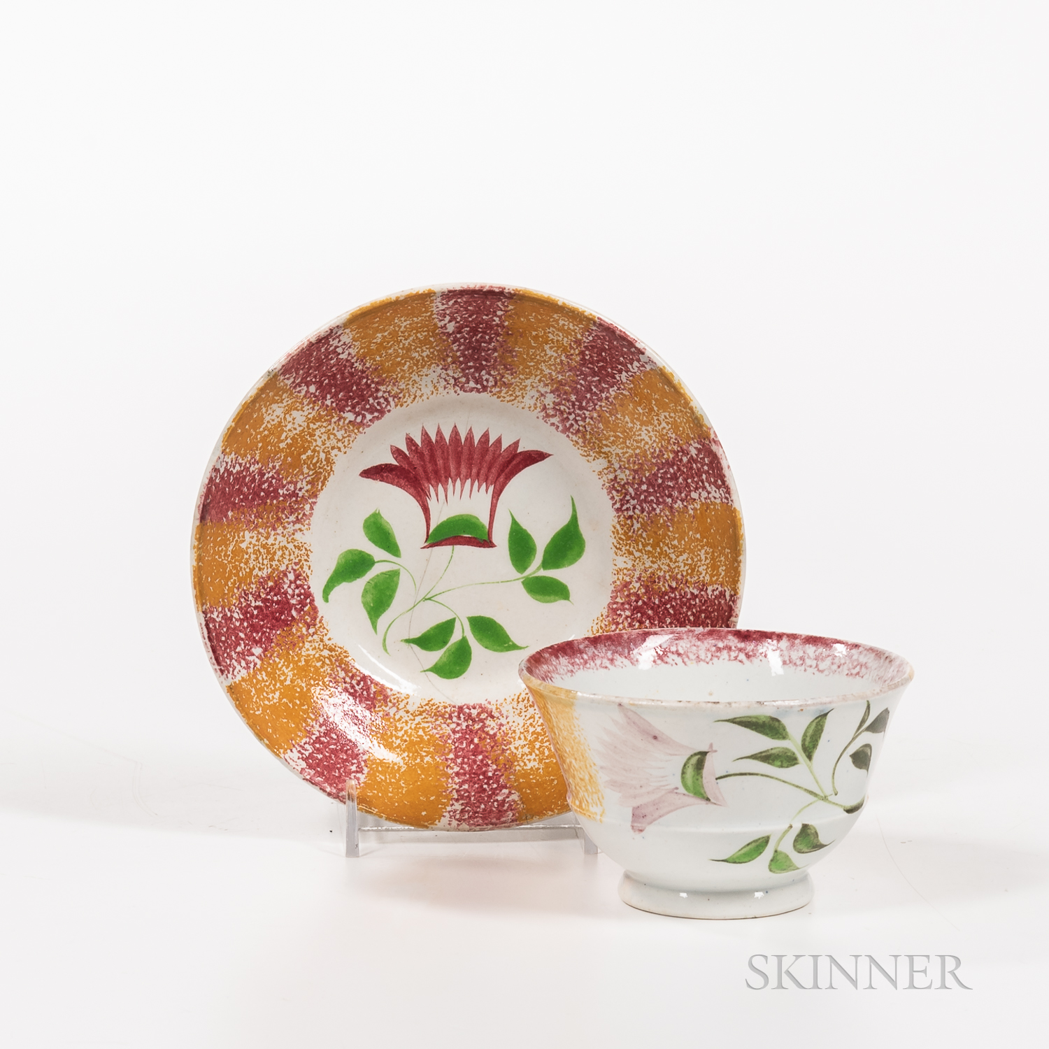 """Red and Yellow Rainbow Spatterware """"Thistle"""" Pattern Teacup and Saucer"""
