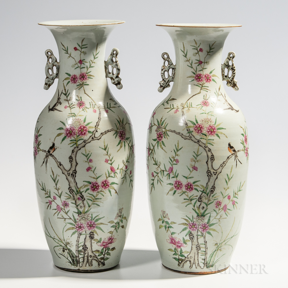 Pair of Large Enameled Porcelain Vases