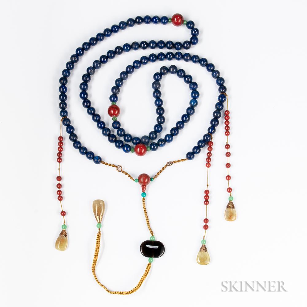 Lapis Lazuli and Carnelian Court Necklace, Chao Zhu