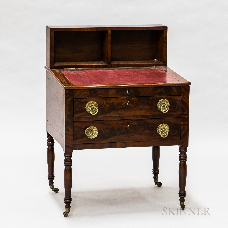 Empire Mahogany and Mahogany Veneer Slant-lid Desk