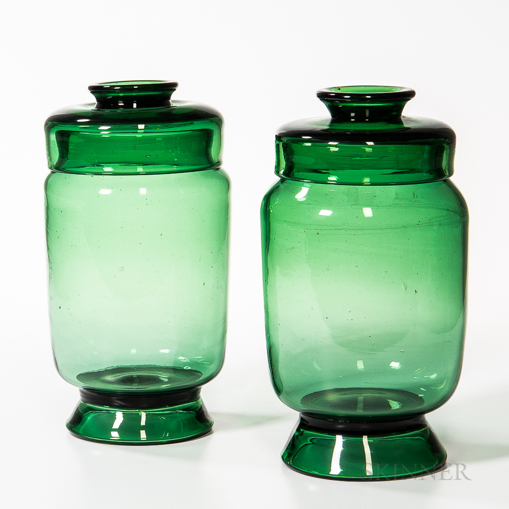 Two Green Blown Glass Apothecary Jars
