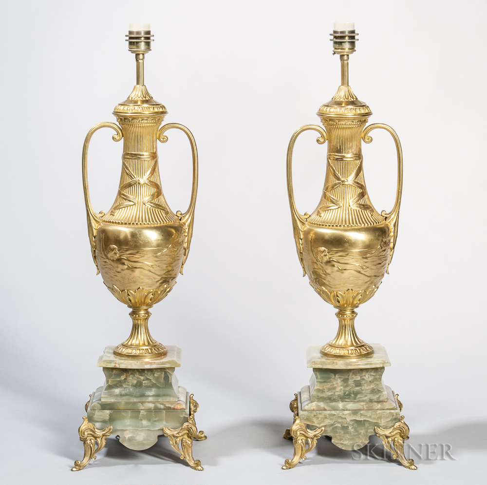 Pair of Gilt-bronze and Onyx Art Nouveau-style Table Lamps