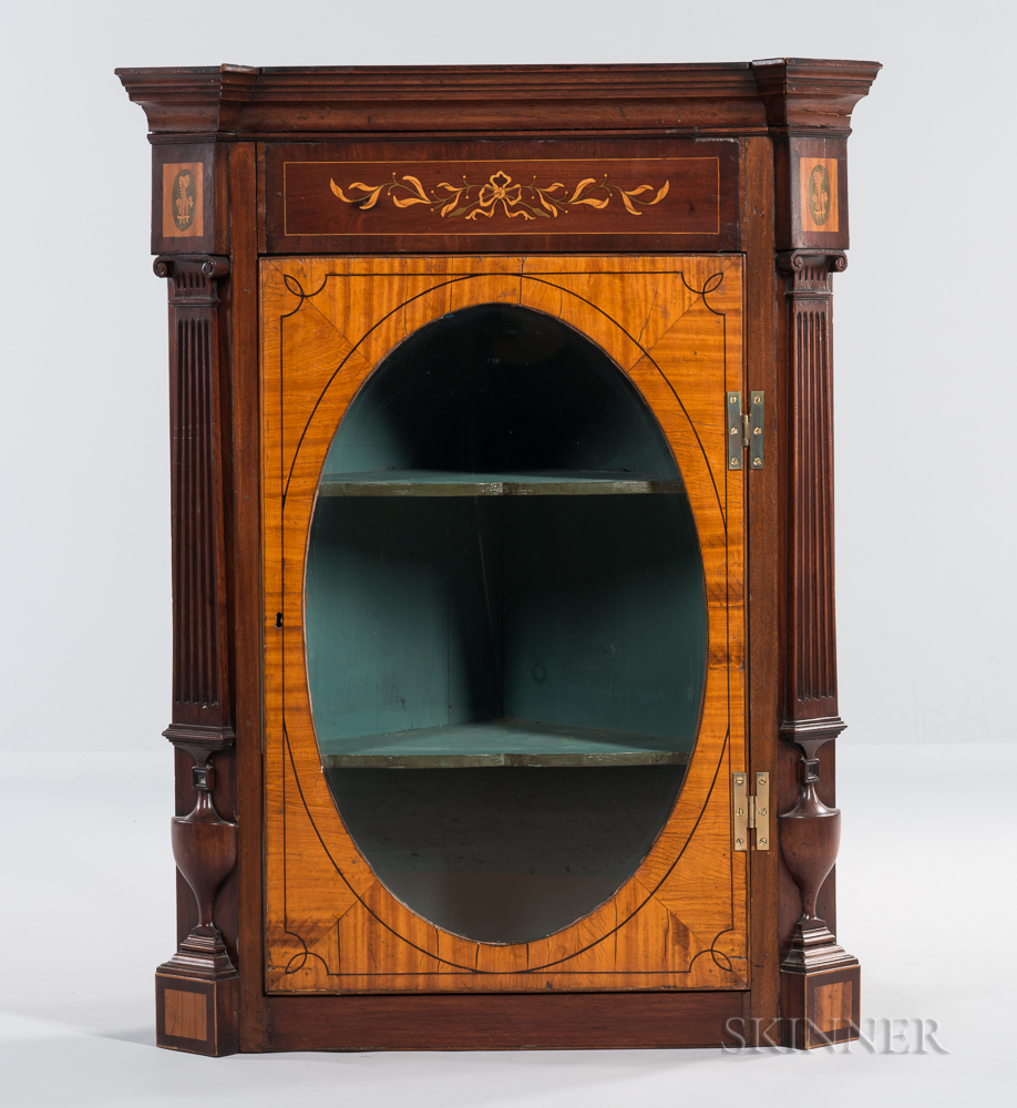 Neoclassical-style Mahogany Corner Cabinet