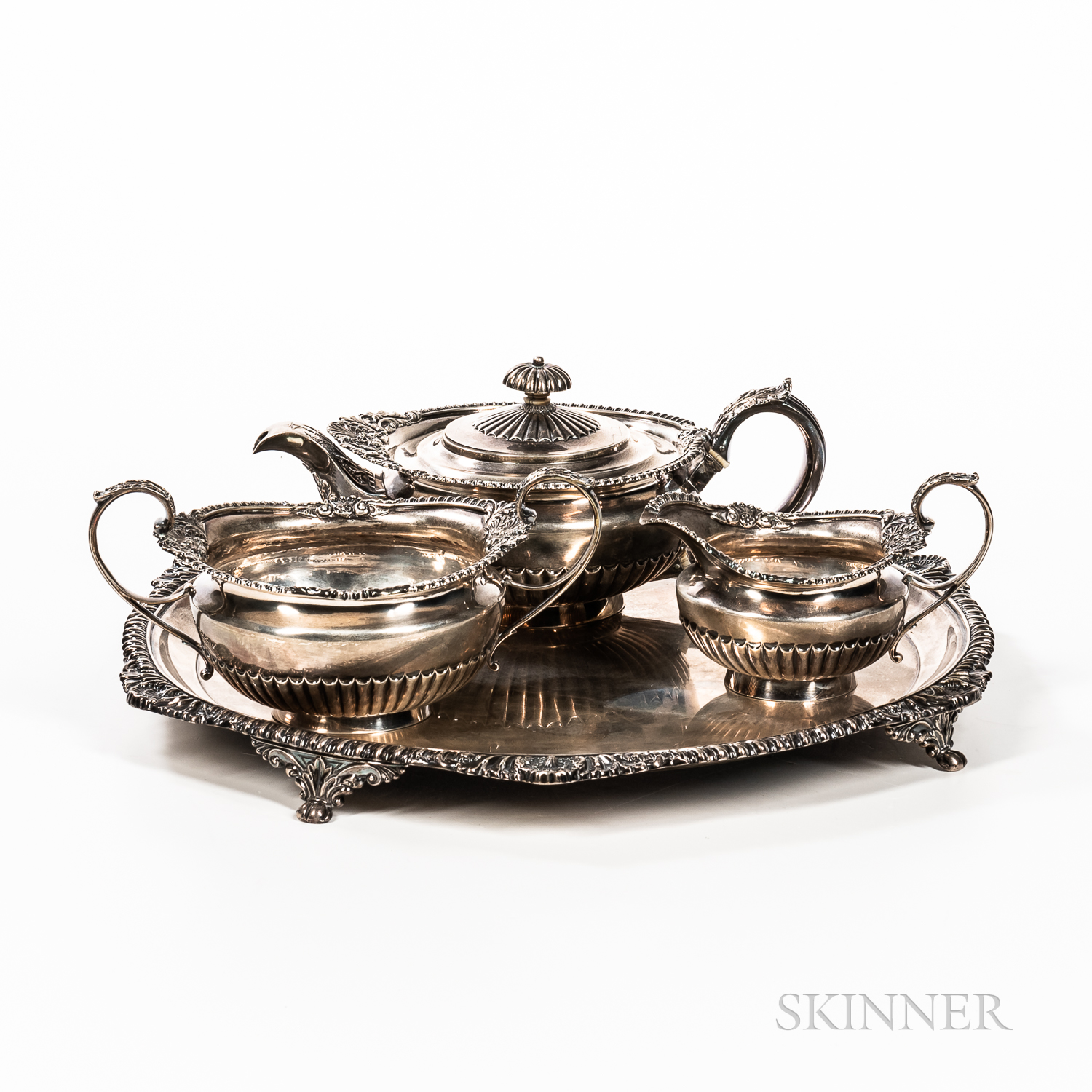 English Three-piece Sterling Silver Tea Set with Tray