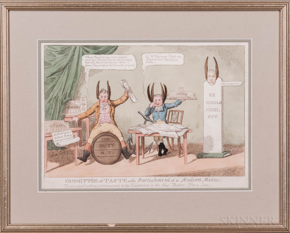 Caricatures and Theater Prints, Nineteen Examples.