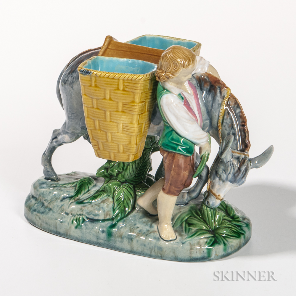 Minton Majolica Boy with Donkey