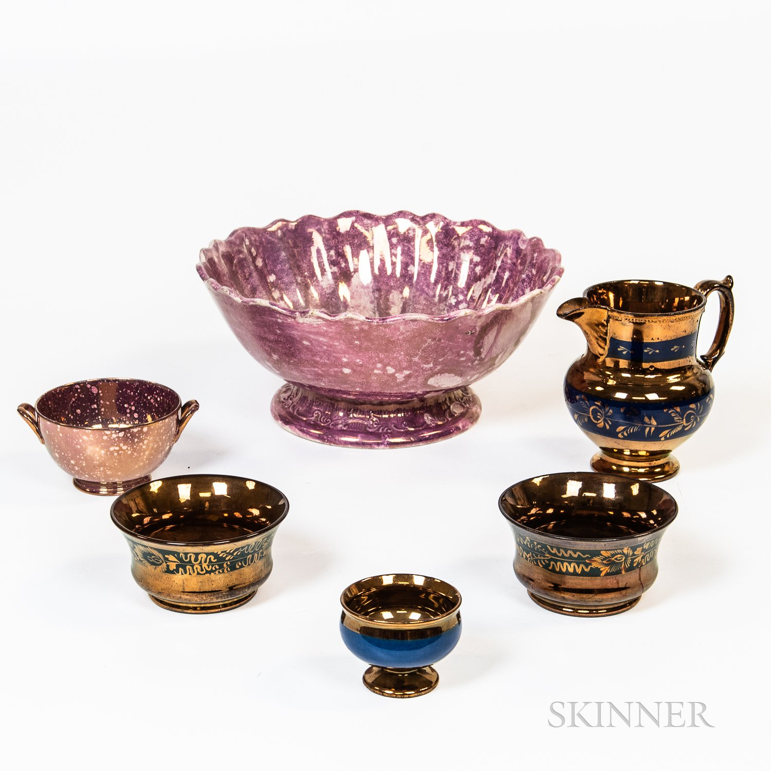 Six Pieces of English Lustre Tableware